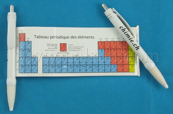 Pens with the periodic table of elements.Retractable scroll out pen with Elements  Periodic Table. Help the student to remember and familiar with chemicals.